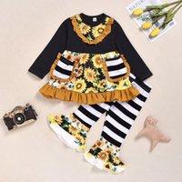 fall tuniken großhandel-Kleinkind Baby-Kleidung Mädchen Fall Outfit Langarm-Kombinationen mit Taschen Rüschen Sunflower Printed Tunika-Kleidung stellte Kinder Mädchen-Kleidung