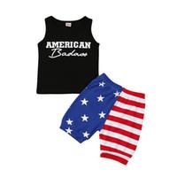 meninos coletes camisas venda por atacado-Verão Baby Boy T-Shirt Da Bandeira Americana Independência Dia Nacional EUA 4 De Julho Em Torno Do Pescoço Carta de Impressão Colete Estrela Stripe Shorts 2 Peça Set