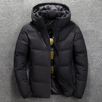 moda neve parka venda por atacado-2019Winter Mens Jacket térmica espessa camada de neve Red Parka preto homem caloroso Outwear Moda-White Duck Down Jacket Men