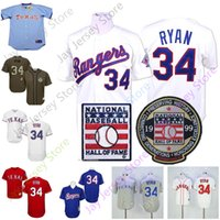 ingrosso sala dei bambini-Nolan Ryan Jersey Texas Cooperstown Rangers Baseball 1999 Hall Of Fame HOF Patch Uomo Donna Bambino Kid Pullover Button