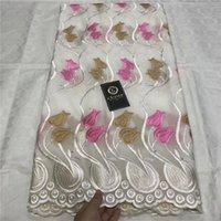 bordado de algodão suiço de algodão venda por atacado-Africanos secos Algodão Lace Tecidos 2019 de alta qualidade bordado Lace suíço Voile pedra suíça Voile Na Suíça