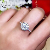 3ct trauringe großhandel-CoLife Schmuck 1ct 2ct 3ct Moissanite Ring für Engagement D Farbe VVS1 Grade Moissanite Silber Ring Klassischer Ehering