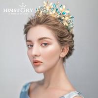 ingrosso blu corona tiaras-Himstory Vintage Blue Flower Butterfly Tiara Crown Baroque Queen Accessori per capelli della festa nuziale J 190430