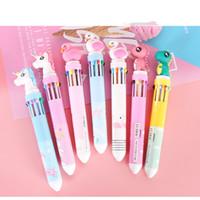 1pc Cute 10 Colors Unicorn flamingo Dinosaur Ballpoint Pen Silica Rainbow Kawaii Cartoon Ball Pen For Kids Gift Material Escolar