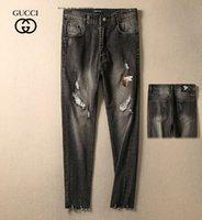patchs de motards brodés achat en gros de-Homme motard Jeans Trou Patch Broder Punk Wind Pantalon Slim Petits Pieds Marée Homme