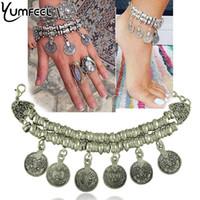 münzen armbänder frauen großhandel-Modeschmuck Yumfeel New Vintage Münze Charme Fußkettchen Armband für Frau Schmuck Armbänder für