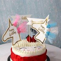 siyah doğum günü partisi malzemeleri toptan satış-Düğün Dekorasyon Püsküller Bayrakları Unicorn Parti Malzemeleri Mutlu Doğum Günü Mor Siyah Kek Pişirme Papery Bayrak Basit Moda 0 9xgD1