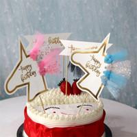 lila geburtstagstorte großhandel-Hochzeitsdekoration Quasten Fahnen Unicorn Party Supplies Happy Birthday Lila Schwarz Kuchen Backen Papery Flagge Einfache Mode 0 9xgD1