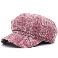 beanie bereler erkek toptan satış-LDSLYJR 2019 ekose Sekizgen Şapkalar kadınlar ve erkekler için Bereliler Ressam şapka Beanie kap 04