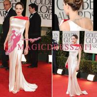 ünlü fildişi gece önlükleri toptan satış-Angelina Jolie Krem Fildişi Altın Küre Akşam elbise Bir Omuz Mermaid Kırmızı Halı Abiye Özel Boyut Ünlü Arapça Gelinlik Modelleri