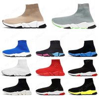 туз носок обуви  оптовых-Balenciaga sock shoes 2019 ACE Designer casual sock Shoes Speed Trainer Black Red Triple Black Fashion Socks Sneaker Trainer casual shoes 36-45