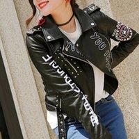 reißverschlüsse nieten biker jacke großhandel-Frauen schwarz Faux PU Leder Niet kurze Jacke Brief Gürtel Punk Moto Biker Mantel weiblich Winter Herbst Reißverschluss Damen Outwear