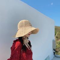 senhoras tricô chapéu aba venda por atacado-2019 Novas Mulheres Senhoras verão dobrável chapéu de palha de praia de malha férias grande aba rendas banda chapéu de sol
