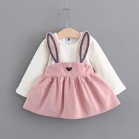 Wholesale baby girl korean dress cute resale online - Spring autumn Korean baby girls child clothing cute princess dresses for newborn infant baby girls wear clothes Stitching dress