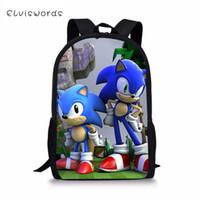 rucksackmuster für kinder großhandel-ELVISWORDS Mode Kinder Rucksack Sonic Prints Kinder Schule Bookbag Cartoon Muster Kleinkind Schultaschen Frauen Reiserucksack