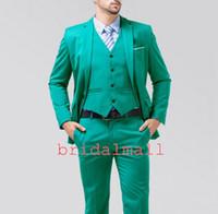 Wholesale wool tweed pants resale online - Turquoise Groom Tuxedos For Business Notch Lapel Center Vent Best Men s Wedding Suit Holiday Prom Blazer Mens Formal Tux Jacket pants Vest