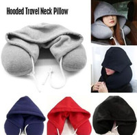 Wholesale cotton body pillow for sale - Group buy Soft Hooded U pillow Body Neck Pillow Solid Grey Nap Cotton Particle Pillow Textile Home Airplane Car Travel Pillow CCA11013
