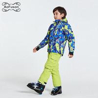 ingrosso bendaggio bambino-Giacche da sci da snowboard per bambini Indossare Giacche con cappuccio + Pantaloni fasciatura Abiti per bambini Ragazzi Ragazze Inverno Caldo Neve Sport Sci Cappotto