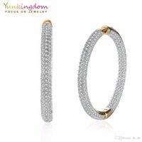 modeschmuck königin großhandel-Pflastern Sie weiße Zirkonia-Kristalle Big Circle Creolen für Damen Fashion Party Queen Jewelry