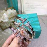 bracelet en cristal blanc achat en gros de-Cuivre de créateur classique de luxe avec bracelet en or plaqué or rose 18 carats plaqué or rose et blanc 18 carats