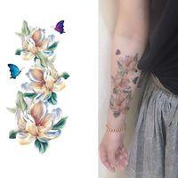 Wholesale big 3d art resale online - Women Temporary Tattoo Sticker Black D Flower Design Full Flowers Arm Body Art Big Large Fake Tattoo Sticker
