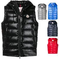 chaquetas de invierno de los hombres clásicos al por mayor-De alta calidad francés nuevo diseñador hombres invierno abajo chaleco clásico plumas weskit chalecos casuales abrigo