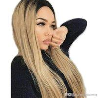 tonlar ombre saç 27 toptan satış-Ombre Sarışın Sentetik Dantel Ön Peruk Koyu Kökleri Iki Tonluk Renk Isıya Dayanıklı Fiber Uzun Düz Saç 1B / 27 Renk
