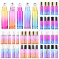 leere ätherische ölwalzenkugeln großhandel-10ML / 5ML Farbverlauf Dicke Glasrolle Auf Ätherisches Öl Leere Parfum Flaschen Roller Ball Reise Verwendung