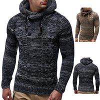 suéter cinza camisola homens venda por atacado-Homens Camisola Outono Inverno Pulôver De Malha Cardigan Casaco Cinza Casaco Com Capuz Camisola Outwear Tamanho S-3XL
