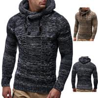 graue strickjacke männer großhandel-Männer Pullover Herbst Winter Pullover Strickjacke Grau Navy Mantel Mit Kapuze Pullover Jacke Outwear Größe S-3XL