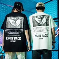facas velhas venda por atacado-2019 Homens Hip Hop Camiseta Faca Do Exército Imprimir Harajuku T-Shirt Streetwear Verão Tops Tee Algodão de Manga Curta Tshirt Velho Preto Branco