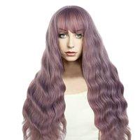 larga peluca rizada natural al por mayor-Peluca rizada suelta peluca de fibra sintética del pelo púrpura del humo ondulado mullido con el casquillo natural para la fiesta de Halloween Cosplay de la boda