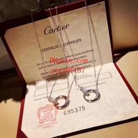 ingrosso gioielli di cristallo per matrimoni-Designer Brand Coppia Collana Moda donna gioielli rosso Amore ciondolo in argento sterling 18 carati placcato oro femminile collana regalo di compleanno