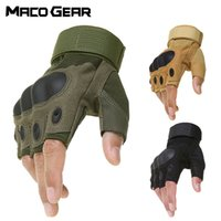 Wholesale gloves military resale online - Outdoor Tactical Fingerless Gloves Military Army Shooting Hiking Hunting Climbing Cycling Gym Riding Airsoft Half Finger Gloves