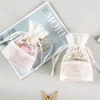 Wholesale white lace gift bags resale online - 5pcs x14cm White Rose Lace Bag Drawstring Bag Slub Yarn Jewelry Pouch Gift for Wedding Party Favors Packing Bags