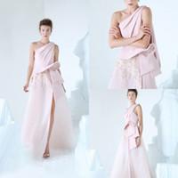 floral um ombro vestido rosa venda por atacado-2019 Osta Rosa Prom Vestidos de Cetim de Um Ombro Floral 3D Appliqued Longo Vestido de Noite Side Dividir Custom Made Vestidos de Festa Formal