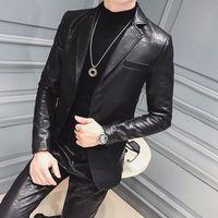 almofadas de peito preto venda por atacado-New couro Pu Leather Faux Homens Blazer Luxo adicionar preenchimento Único Breasted masculinos Casacos Outono Inverno Slim Fit Black Man Blazer