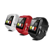 iphone kırmızı göz toptan satış-U8 Akıllı Bilek İzle Telefon Mate U8 Bluetooth V3.0 + EDR Için iPhone IOS Samsung Android Için Siyah Beyaz Kırmızı