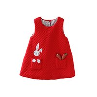 Wholesale baby rabbit clothing resale online - Newborn Autumn Rabbit And Carrot Appliques Baby Girls Infant Dress clothes Kids Party Birthday Christening Dress t Y190516