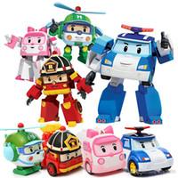 abs toy car оптовых-Горячая DHL доставка деформации автомобиля поло Robocar Bubble игрушки 4 модели Южная Корея Поли робот-трансформер автомобиля Helly Amber Roy ABS с пакетом