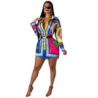 tasarımcılar kadın giyim toptan satış-Yaz Bayan Tasarımcı Tişörtleri Mahkemesi Uzun Kollu Gömlek Seksi Kız 3D Baskılı Kadın Giyim Tops
