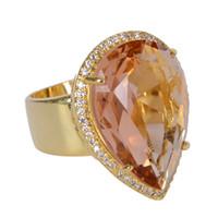 14k gold ring gelben stein großhandel-Luxus männlich weiblich großen kristall zirkon stein ring gelbgold farbe hochzeit schmuck versprechen verlobungsringe für frauen
