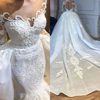 Wholesale petite silver wedding dresses resale online - 2020 Luxury Arabic Dubai Mermaid Wedding Dresses With Detachable Overskirts Sheer Neck Beaded Long Sleeve Lace Bridal Gowns