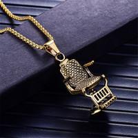 alışveriş moda mücevherleri toptan satış-Moda Gümüş / Altın Renk Berber Dükkanı berber Koltuğu Koltuk Kolye Kolye Takı Uzun Zincir Hip Hop Erkekler Kolye