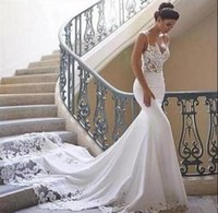 Wholesale empire neck elastic wedding dresses online - Sexy lace Mermaid Beach berta Wedding Dresses Backless boho Customized wedding dress Lace Mermaid Bridal Gowns real picture Simple Wear