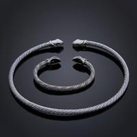 indisches schlangenarmband großhandel-Neue Teen Schlangenkopf Viking Armband Halskette Choker Kragen Set Indischen Zubehör Männer Womem Bangles Modeschmuck Dropshipping