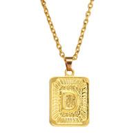 homens quadrados colar de pingente de ouro venda por atacado-5 unidades / lotes A-Z Quadrado Inglês Carta Alfabeto Colar Cor de Ouro Charme Inicial Cadeia Pingente para Homens Mulheres Jóias Acessórios Presentes A-449