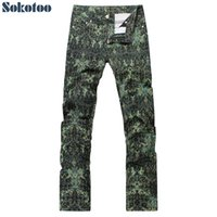 Wholesale drawing patterns jeans for sale - Group buy Sokotoo Men s fashion green printed jeans Sim fit straight colored drawing denim pants