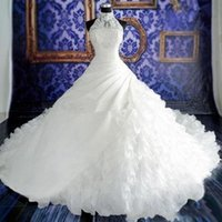 Wholesale fall weddings dresses resale online - 2020 Wedding Dresses Lace Ball Gown Bridal Gowns With Lace Applique Beads High Neck Sleeveless Zip Back Organza New Wedding Gowns