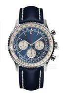 reloj de correo al por mayor-Relojes de lujo BL 46mm Venta caliente Reloj para hombre Reloj de aviación 01 1884 acero inoxidable Cuarzo Cronógrafo Correa de cuero Reloj de pulsera Envío gratuito